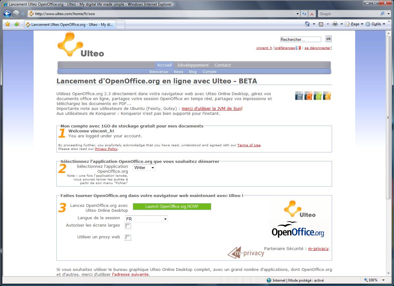 Testez la b ta d 39 en ligne avec ulteo - Open office en francais gratuit ...