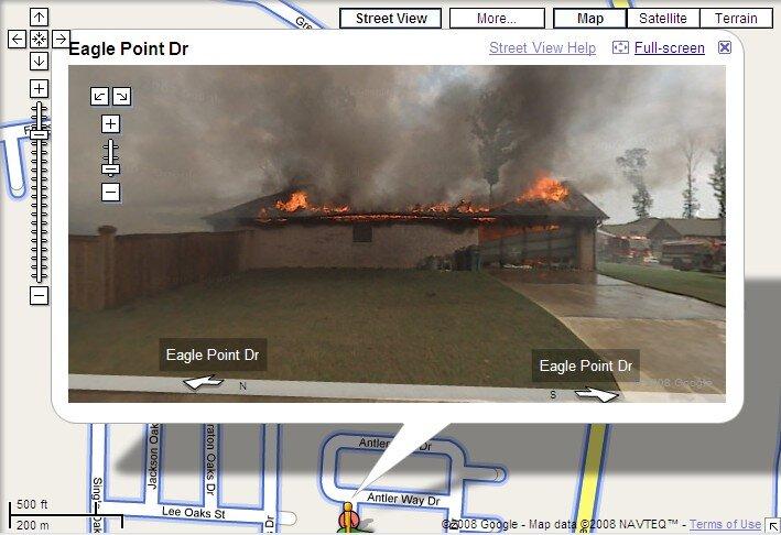 insolite google street view photographie une maison en feu. Black Bedroom Furniture Sets. Home Design Ideas