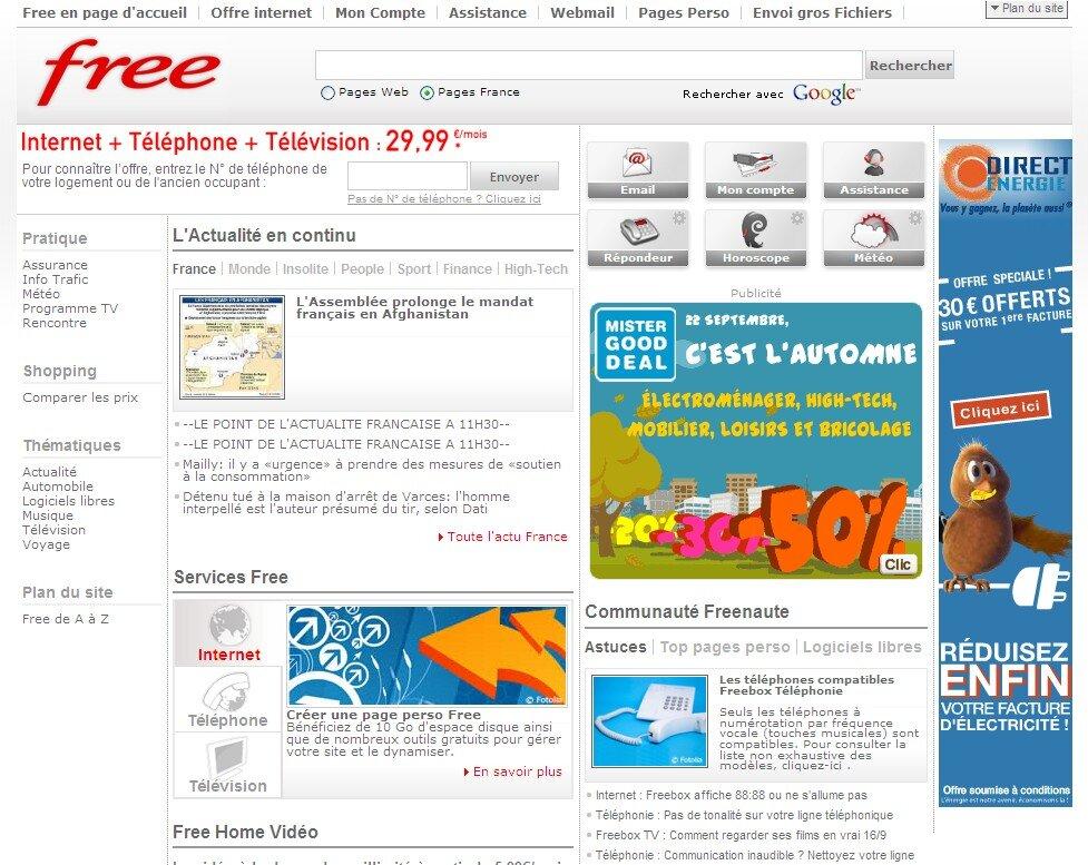 free change enfin sa page daccueil - Page Free