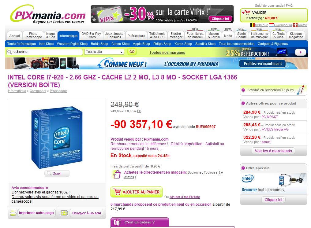 Pixmania, une promotion de 90 000 € sur un Core I7 : imbattable