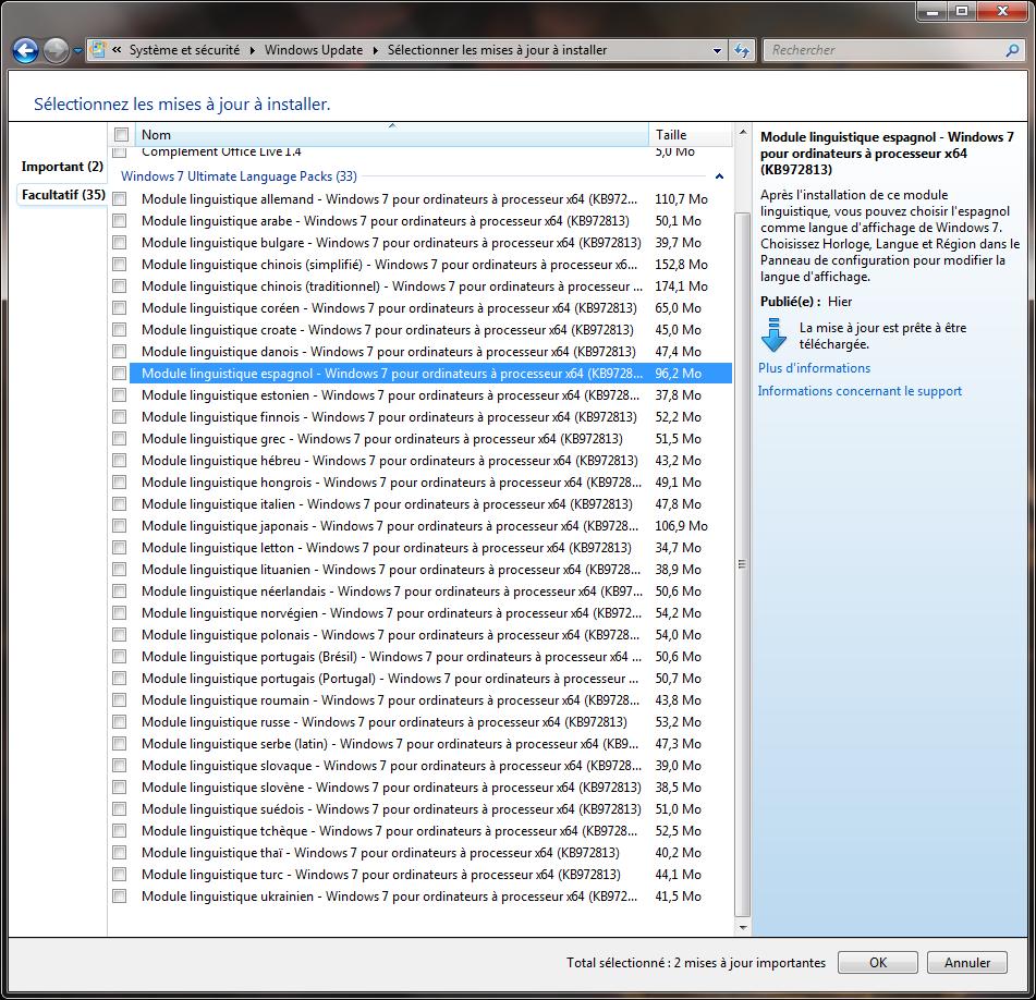 comment désinstaller les packs de langue Windows 7