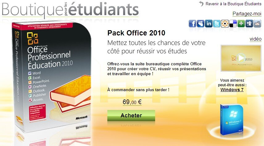 Office 2010 et windows 7 prix cass s pour les tudiants - Office professionnel 2010 ...
