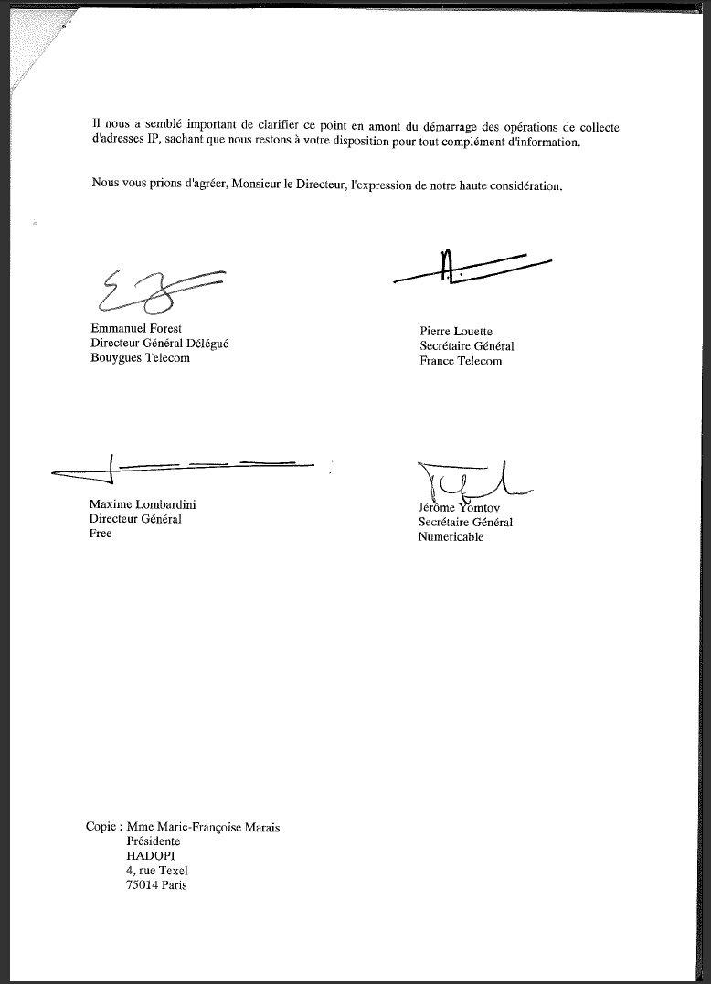 Co ts de l 39 hadopi la lettre envoy e par les fai au minist re - Faire suivre courrier gratuitement ...