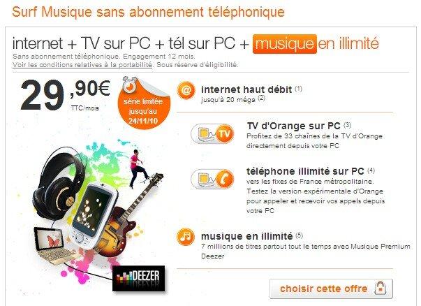 orange propose d j deezer premium dans ses offres internet et mobile. Black Bedroom Furniture Sets. Home Design Ideas
