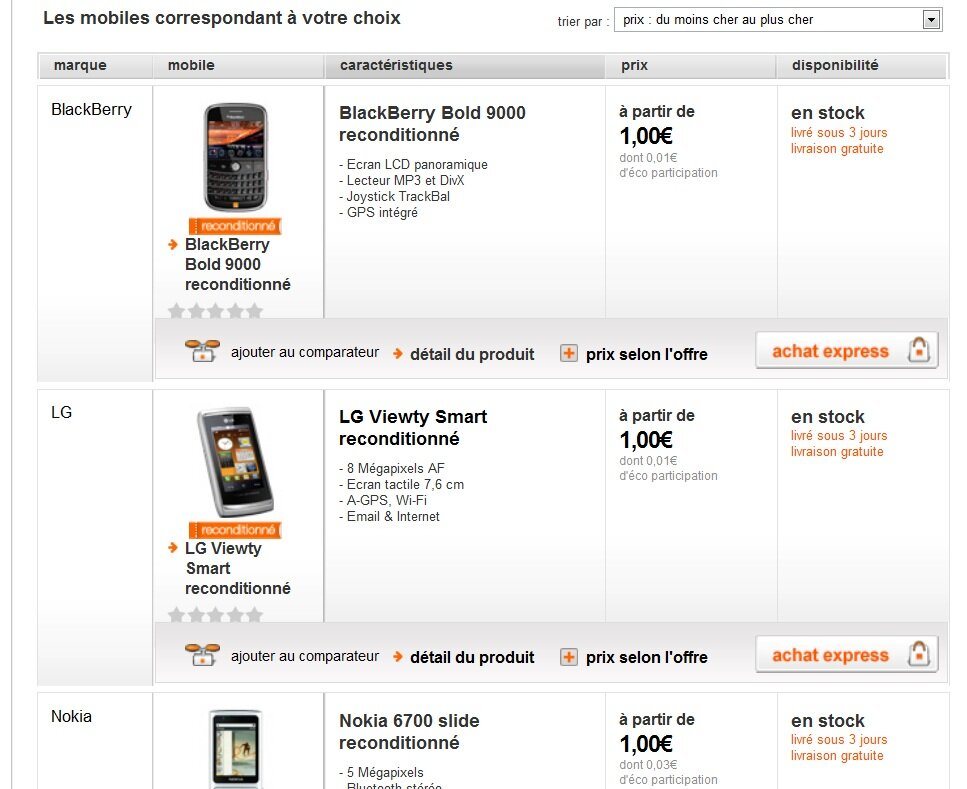 16 smartphones d 39 occasion chez orange partir de 1 euro. Black Bedroom Furniture Sets. Home Design Ideas