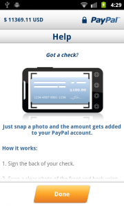 Android Paypal chèques