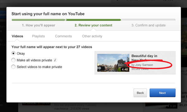 YouTube changer pseudo nom google+