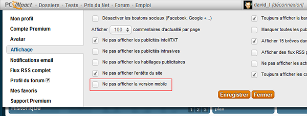 Option de redirection mobile