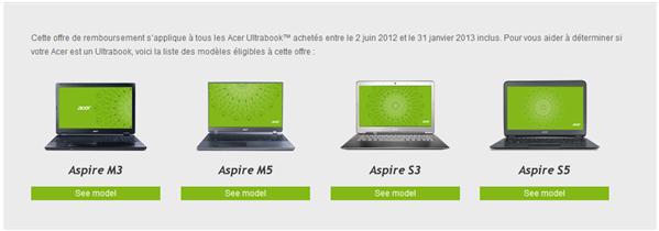 Acer Ultrabook Windows 8 gratuit