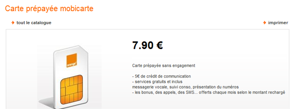 Orange mobicarte prépaye