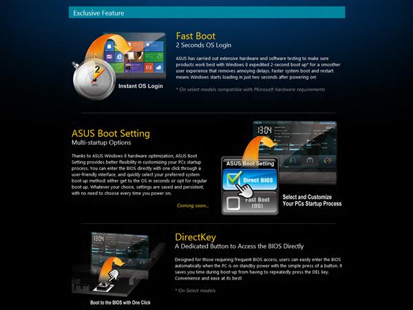 Asus Fonctionnalités Windows 8