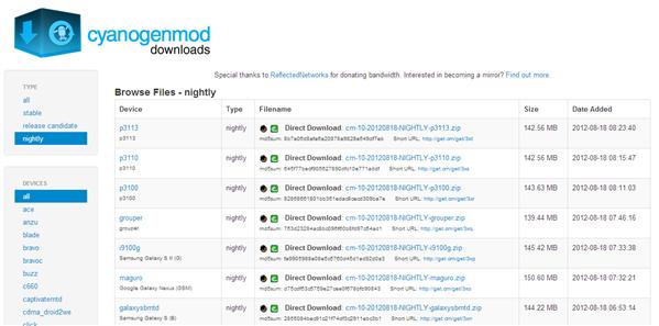 CyanogenMod 10 Nightlies