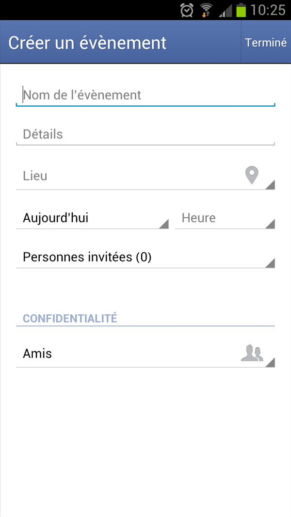 Facebook evenements android