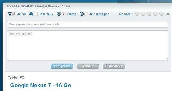 Google Nexus 7 Prix du Net