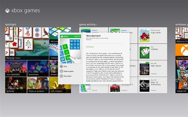 Windows 8 Xbox jeux liste