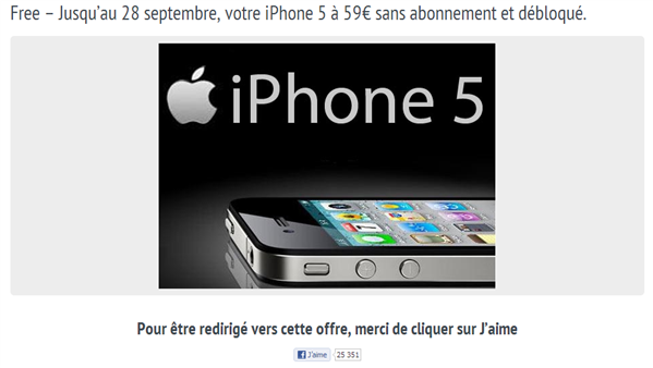 Offre Facebook iPhone 5