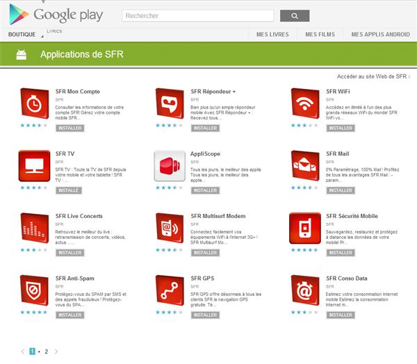 SFR Play Store Google