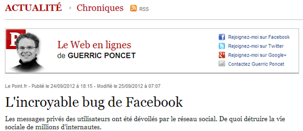 Chronique Facebook Bug Le Point