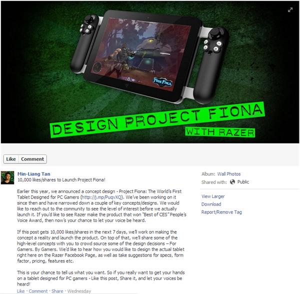 Razer projet fiona facebook