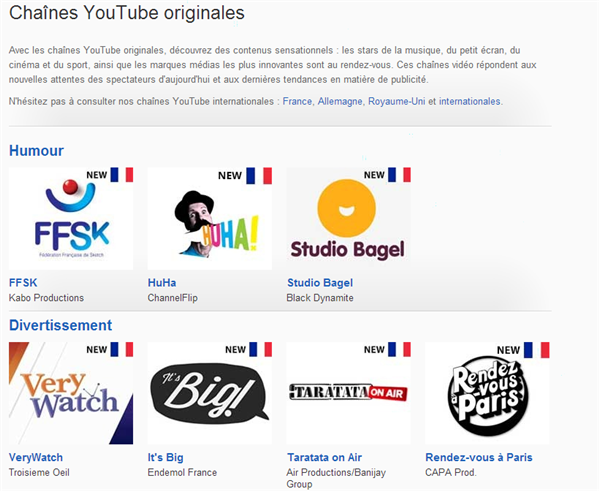 youtube chaines originales france