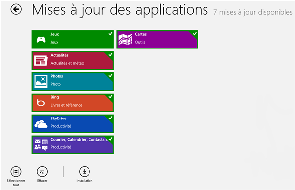 Mise à jour Windows 8 Store