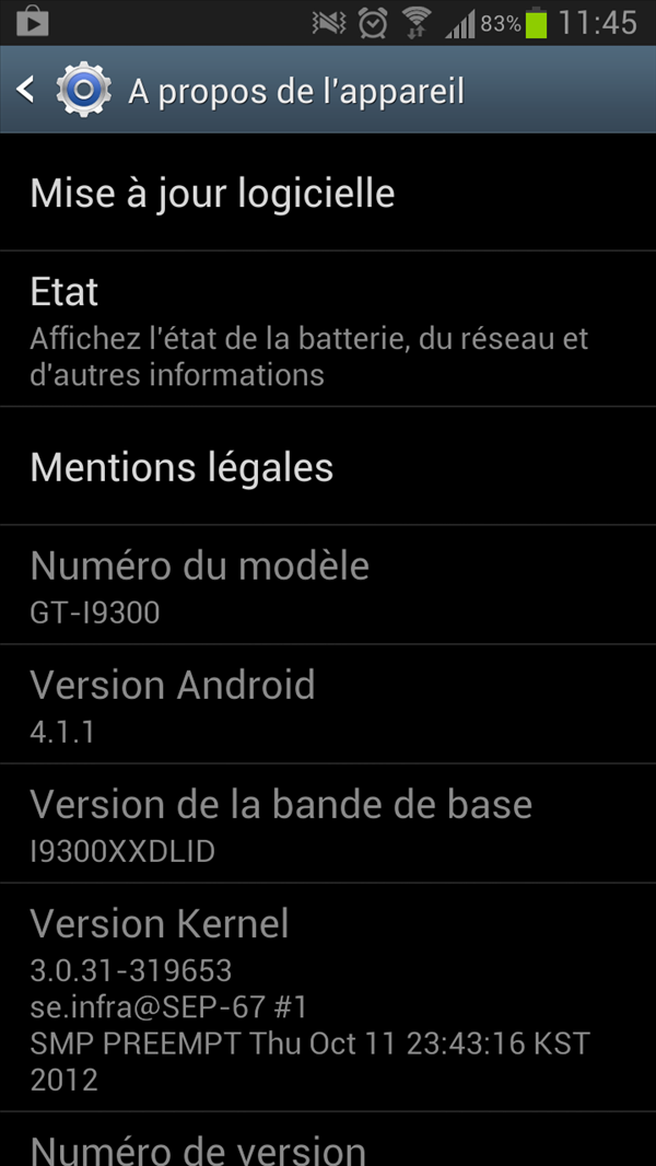 Galaxy SIII Android 4.1