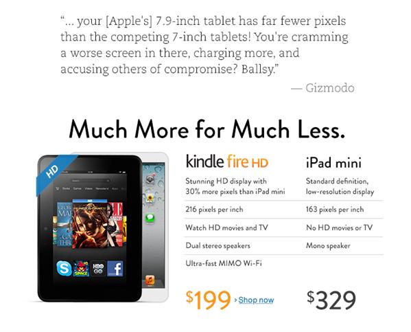 Amazon Apple iPad mini Kindle Fire HD