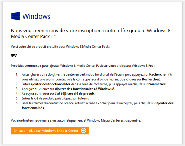 Windows 8 Media Center Pack Mail