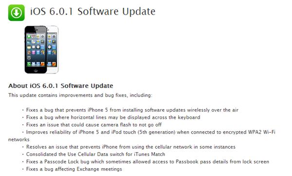 Apple iOS 6.0.1