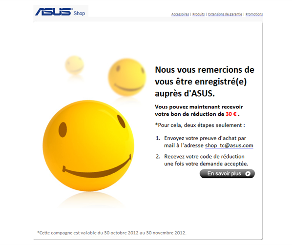 Asus Mail Preuve d'achat Nexus