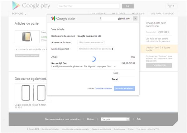 google nexus 4 commande