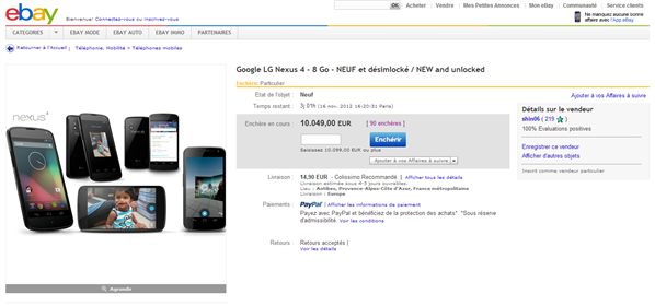 Google Nexus 4 eBay