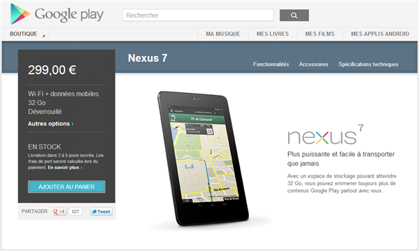 Nexus 7 3G 32 Go disponible