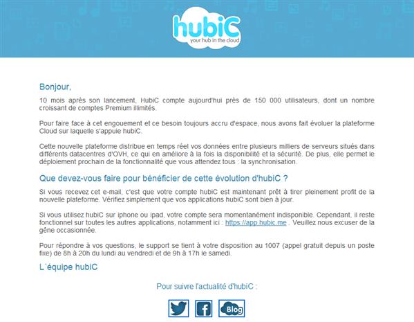HubiC Nouvelle plateforme