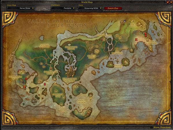 Map PvP ouvert pandaria