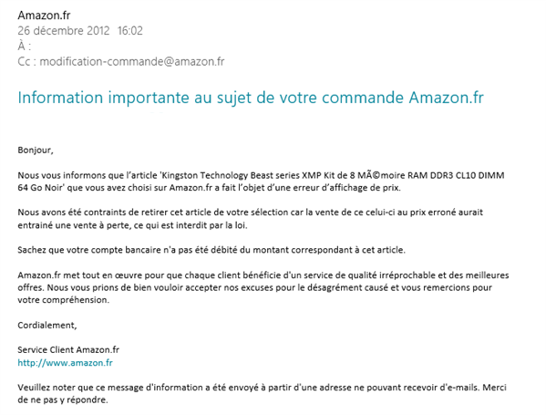 Amazon Mail Erreur Kingston