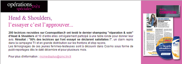 Cosmopolitan Claim Campagne Lectrices
