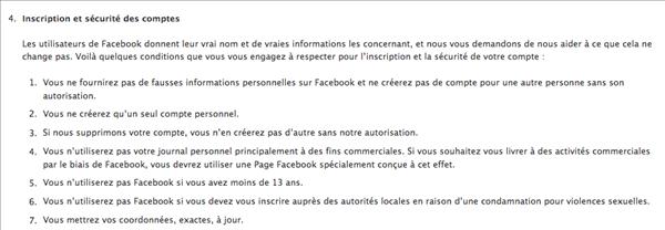 facebook conditions