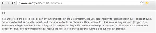 EULA SimCity beta