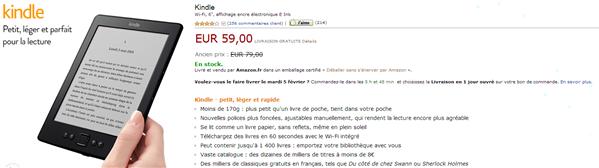 kindle 59 € amazon