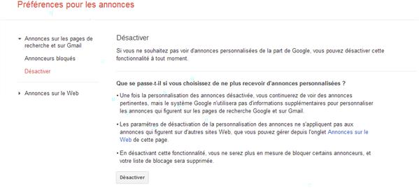 gmail desactiver personnalisation publicite