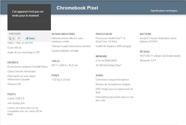 Chromebook Pixel caractéristiques