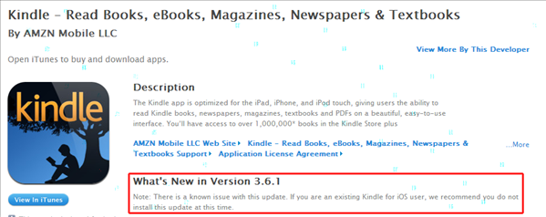 Kindle IOS 3.6.1 ne pas installer
