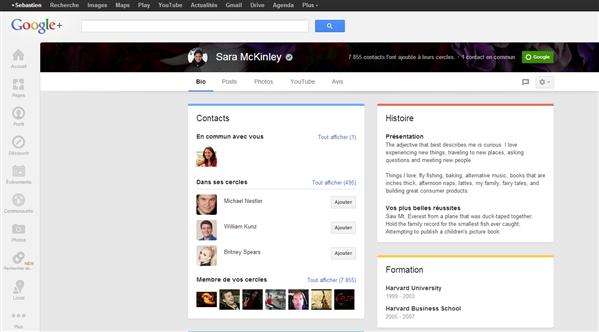 Google+ onglet Bio