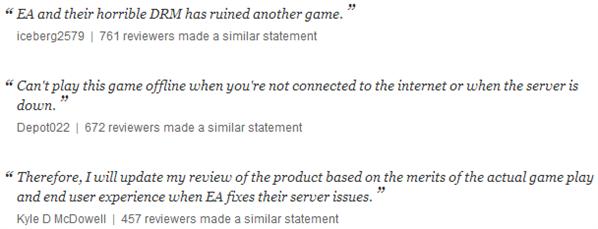 Critiques Amazon SimCity