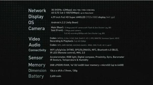 Galaxy S4 spec