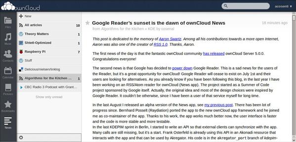 OwnCloud lecteur flux RSS