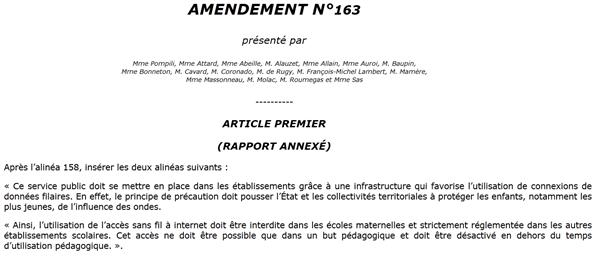 amendement écologiste ondes écoles