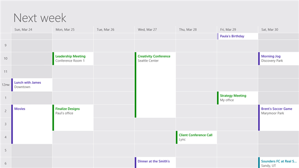 courrier calendrier contacts windows8