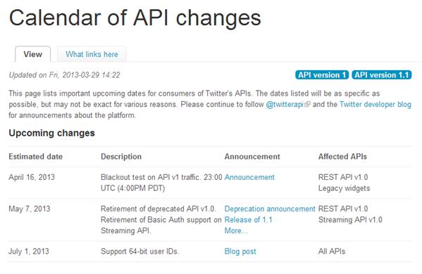 Twitter API 1.0 Calendrier